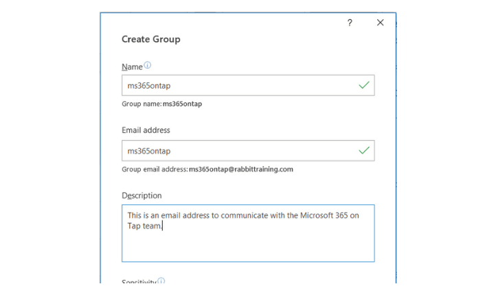 Microsoft Outlook Create Group form
