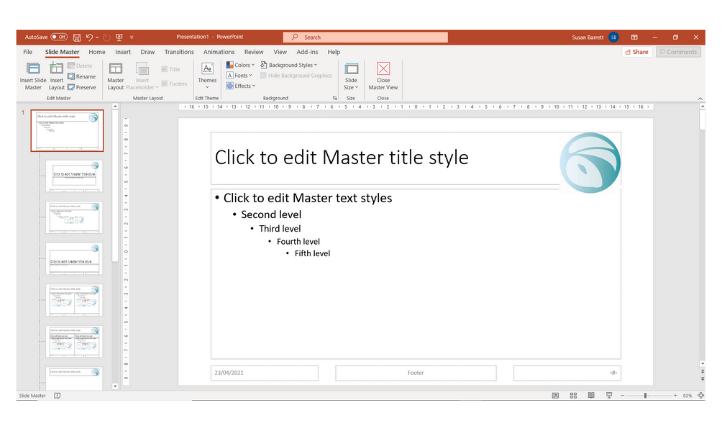 PowerPoint Slide Master view
